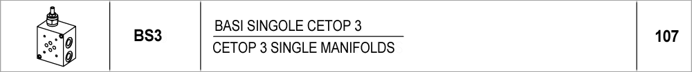 107 – BS3 basi singole CETOP 3 / CETOP 3 single manifolds