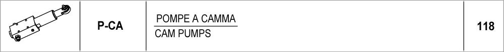 118 – P-CA pompe a camma / cam pumps