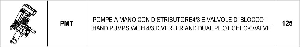 125 – PMT pompe a mano con distributore 4/3 e valvole di blocco / <br />hand pumps with 4/3 diverter and dual pilot check valve