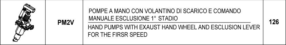 126 – PM2V pompe a mano con volantino di scarico e comando manuale esclusione 1° stadio / <br />hand pumps with exaust hand wheel and esclusion lever for the first speed