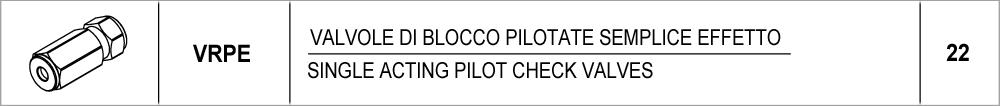 22 – VRPE valvole di blocco pilotate semplice effetto / single acting pilot check valves