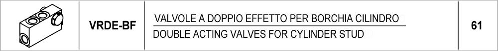 61 – VRDE-BF valvole a doppio effetto per borchia cilindro /<br /> double acting valves for cylinder stud