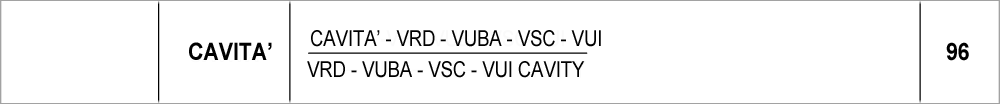 096 – cavità VRD-VUBA_VSC-VU096 – cavità  VRD-VUBA-VSC-VUI / VRD-VUBA-VSC cavity